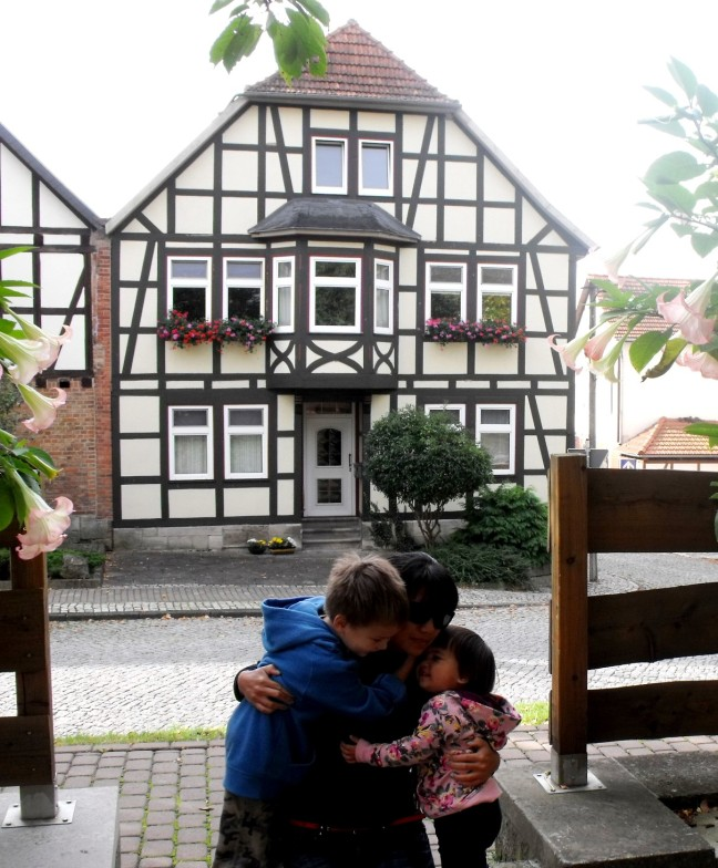 "Time for hugs at ""Mittelpunkt"", the exact middle point of Germany"