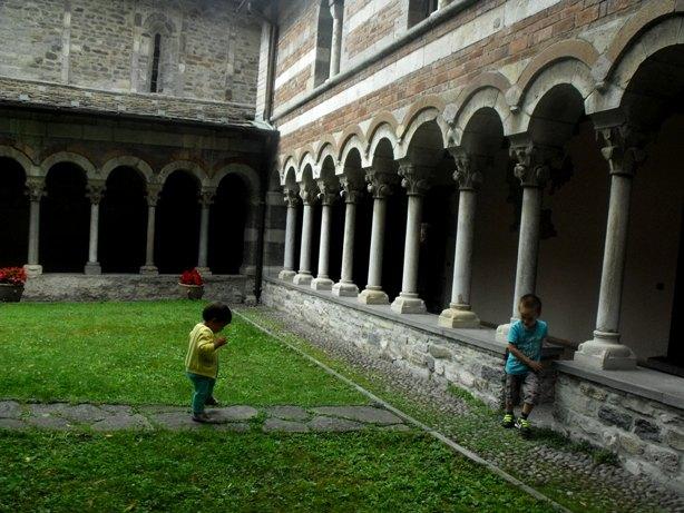 Exploring the monastery at Piona